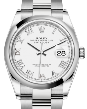 Rolex Datejust 36 Stainless Steel White Roman Dial & Smooth Domed Bezel Oyster Bracelet 126200 - BRAND NEW