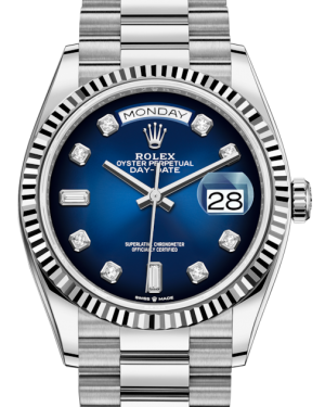 Rolex Day-Date 36 White Gold Blue Ombre Diamond Dial & Fluted Bezel President Bracelet 128239 - BRAND NEW