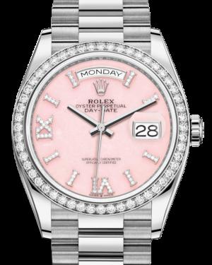 Rolex Day-Date 36 White Gold Pink Opal Diamond Dial & Diamond Bezel President Bracelet 128349RBR - BRAND NEW