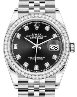 Rolex Datejust 36 White Gold/Steel Black Diamond Dial & Diamond Bezel Jubilee Bracelet 126284RBR - BRAND NEW