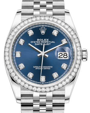Rolex Datejust 36 White Gold/Steel Blue Diamond Dial & Diamond Bezel Jubilee Bracelet 126284RBR - BRAND NEW
