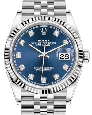 Rolex Datejust 36 White Gold/Steel Blue Diamond Dial & Fluted Bezel Jubilee Bracelet 126234 - BRAND NEW