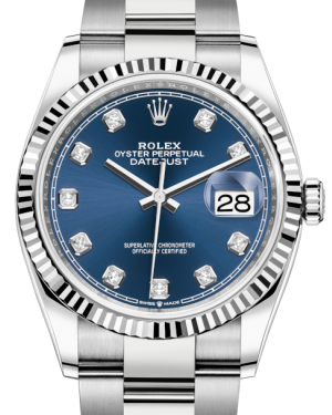 Rolex Datejust 36 White Gold/Steel Blue Diamond Dial & Fluted Bezel Oyster Bracelet 126234 - BRAND NEW