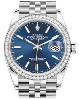 Rolex Datejust 36 White Gold/Steel Blue Index Dial & Diamond Bezel Jubilee Bracelet 126284RBR - BRAND NEW