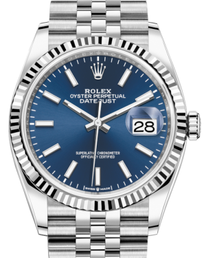 Rolex Datejust 36 White Gold/Steel Blue Index Dial & Fluted Bezel Jubilee Bracelet 126234 - BRAND NEW