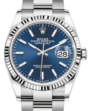 Rolex Datejust 36 White Gold/Steel Blue Index Dial & Fluted Bezel Oyster Bracelet 126234 - BRAND NEW