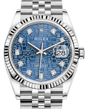 Rolex Datejust 36 White Gold/Steel Blue Jubilee Diamond Dial & Fluted Bezel Jubilee Bracelet 126234 - BRAND NEW