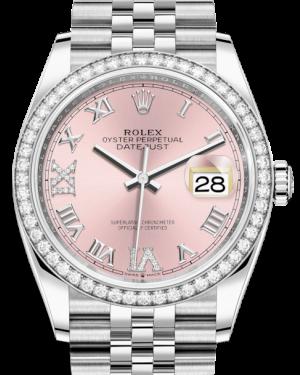 Rolex Datejust 36 White Gold/Steel Pink Roman & Diamond Dial & Diamond Bezel Jubilee Bracelet 126284RBR - BRAND NEW