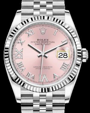 Rolex Datejust 36 White Gold/Steel Pink Roman & Diamond Dial & Fluted Bezel Jubilee Bracelet 126234 - BRAND NEW