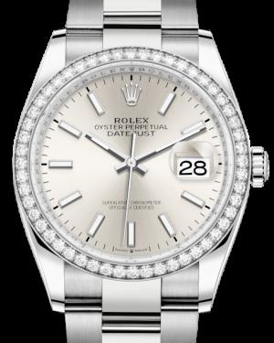Rolex Datejust 36 White Gold/Steel Silver Index Dial & Diamond Bezel Oyster Bracelet 126284RBR - BRAND NEW