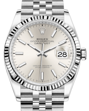Rolex Datejust 36 White Gold/Steel Silver Index Dial & Fluted Bezel Jubilee Bracelet 126234 - BRAND NEW
