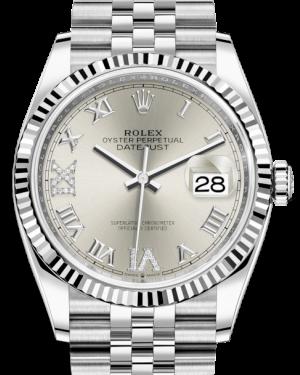 Rolex Datejust 36 White Gold/Steel Silver Roman & Diamond Dial & Fluted Bezel Jubilee Bracelet 126234 - BRAND NEW