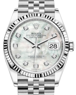 Rolex Datejust 36 White Gold/Steel White Mother of Pearl Diamond Dial & Fluted Bezel Jubilee Bracelet 126234 - BRAND NEW