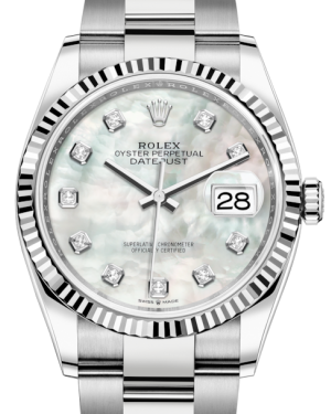 Rolex Datejust 36 White Gold/Steel White Mother of Pearl Diamond Dial & Fluted Bezel Oyster Bracelet 126234 - BRAND NEW