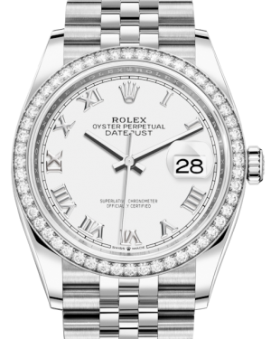 Rolex Datejust 36 White Gold/Steel White Roman Dial & Diamond Bezel Jubilee Bracelet 126284RBR - BRAND NEW