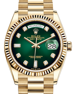 Rolex Day-Date 36 Yellow Gold Green Ombre Diamond Dial & Fluted Bezel President Bracelet 128238 - BRAND NEW