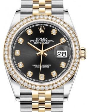 Rolex Datejust 36 Yellow Gold/Steel Black Diamond Dial & Diamond Bezel Jubilee Bracelet 126283RBR - BRAND NEW