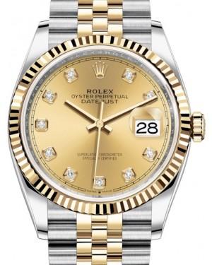 Rolex Datejust 36 Yellow Gold/Steel Champagne Diamond Dial & Fluted Bezel Jubilee Bracelet 126233 - BRAND NEW