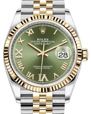 Rolex Datejust 36 Yellow Gold/Steel Olive Green Roman Diamond VI Dial & Fluted Bezel Jubilee Bracelet 126233 - BRAND NEW