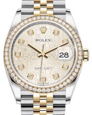 Rolex Datejust 36 Yellow Gold/Steel Silver Jubilee Diamond Dial & Diamond Bezel Jubilee Bracelet 126283RBR - BRAND NEW