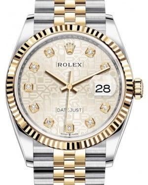 Rolex Datejust 36 Yellow Gold/Steel Silver Jubilee Diamond Dial & Fluted Bezel Jubilee Bracelet 126233 - BRAND NEW
