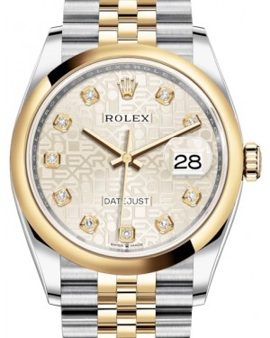 Rolex Datejust 36 Yellow Gold/Steel Silver Jubilee Diamond Dial & Smooth Domed Bezel Jubilee Bracelet 126203 - BRAND NEW
