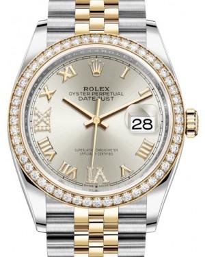 Rolex Datejust 36 Yellow Gold/Steel Silver Roman Diamond VI Dial & Diamond Bezel Jubilee Bracelet 126283RBR - BRAND NEW