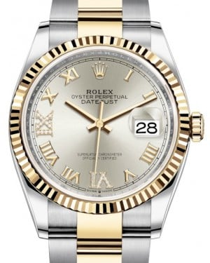 Rolex Datejust 36 Yellow Gold/Steel Silver Roman Diamond VI Dial & Fluted Bezel Oyster Bracelet 126233 - BRAND NEW