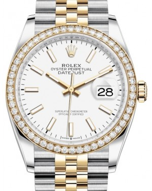 Rolex Datejust 36 Yellow Gold/Steel White Index Dial & Diamond Bezel Jubilee Bracelet 126283RBR - BRAND NEW