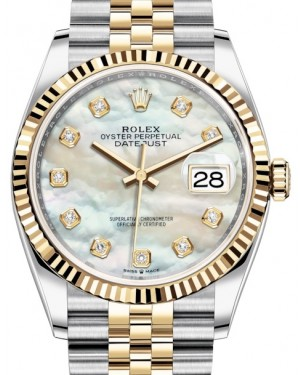 Rolex Datejust 36 Yellow Gold/Steel White Mother of Pearl Diamond Dial & Fluted Bezel Jubilee Bracelet 126233 - BRAND NEW