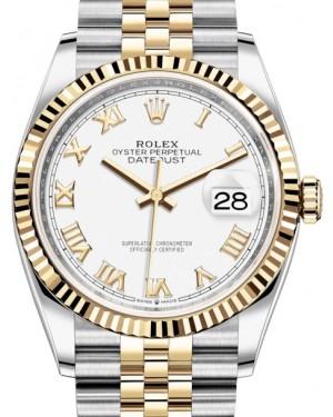 Rolex Datejust 36 Yellow Gold/Steel White Roman Dial & Fluted Bezel Jubilee Bracelet 126233 - BRAND NEW