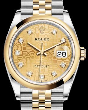 Rolex Datejust 36 Yellow Gold/Steel Champagne Jubilee Diamond Dial & Smooth Domed Bezel Jubilee Bracelet 126203 - BRAND NEW
