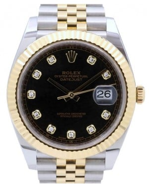 Rolex Datejust 41 Yellow Gold/Steel Black Diamond Dial Fluted Bezel Jubilee Bracelet 126333 - PRE-OWNED