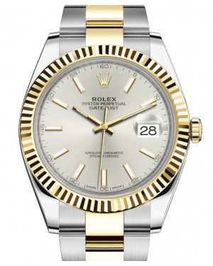 Rolex Datejust 41 Yellow Gold/Steel Silver Index Dial Fluted Bezel Oyster Bracelet 126333 - BRAND NEW