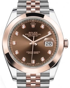 Rolex Datejust 41 Rose Gold/Steel Chocolate Diamond Dial Smooth Bezel Jubilee Bracelet 126301 - BRAND NEW