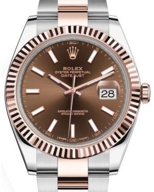 Rolex Datejust 41 Rose Gold/Steel Chocolate Index Dial Fluted Bezel Oyster Bracelet 126331 - BRAND NEW