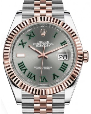 Rolex Datejust 41 Rose Gold/Steel Slate Roman Dial Fluted Bezel Jubilee Bracelet 126331 - PRE-OWNED 2019