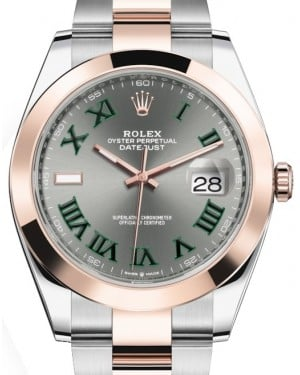Rolex Datejust 41 Rose Gold/Steel Slate Roman Dial Smooth Bezel Oyster Bracelet 126301 - BRAND NEW