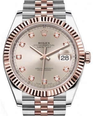 Rolex Datejust 41 Rose Gold/Steel Sundust Diamond Dial Fluted Bezel Jubilee Bracelet 126331 - BRAND NEW