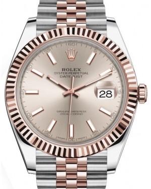 Rolex Datejust 41 Rose Gold/Steel Sundust Index Dial Fluted Bezel Jubilee Bracelet 126331 - BRAND NEW