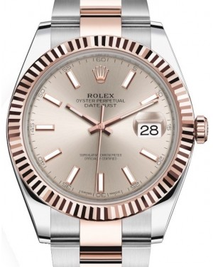 Rolex Datejust 41 Rose Gold/Steel Sundust Index Dial Fluted Bezel Oyster Bracelet 126331 - BRAND NEW