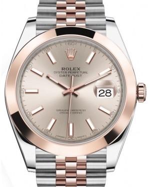 Rolex Datejust 41 Rose Gold/Steel Sundust Index Dial Smooth Bezel Jubilee Bracelet 126301 - BRAND NEW