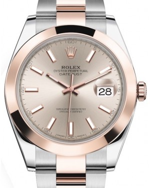 Rolex Datejust 41 Rose Gold/Steel Sundust Index Dial Smooth Bezel Oyster Bracelet 126301 - BRAND NEW