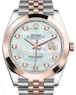 Rolex Datejust 41 Rose Gold/Steel White Mother of Pearl Diamond Dial Smooth Bezel Jubilee Bracelet 126301 - BRAND NEW