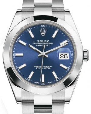 Rolex Datejust 41 Stainless Steel Blue Index Dial Smooth Bezel Oyster Bracelet 126300 - BRAND NEW