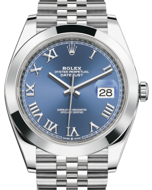 Rolex Datejust 41 Stainless Steel Blue Roman Dial Smooth Bezel Jubilee Bracelet 126300 - BRAND NEW