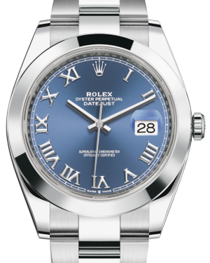 Rolex Datejust 41 Stainless Steel Blue Roman Dial Smooth Bezel Oyster Bracelet 126300 - BRAND NEW