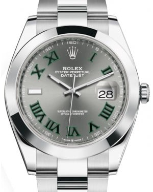 Rolex Datejust 41 Stainless Steel Slate Roman Dial Smooth Bezel Oyster Bracelet 126300 - BRAND NEW