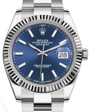 Rolex Datejust 41 White Gold/Steel Blue Index Dial Fluted Bezel Oyster Bracelet 126334 - BRAND NEW