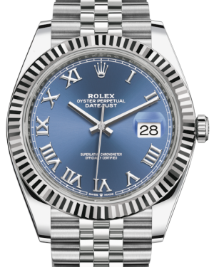 Rolex Datejust 41 White Gold/Steel Blue Roman Dial Fluted Bezel Jubilee Bracelet 126334 - BRAND NEW